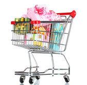 Winkelwagen met heldere geschenken geïsoleerd op wit — Stockfoto