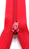 Red zipper closeup — Stock Photo