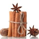 Cinnamon sticks, nutmeg and anise isolated on white — Stock Photo #8472056