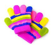 Zářivě pruhované dětské rukavice izolované na bílém — Stock fotografie
