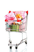 Shopping cart with bright gifts isolated on white — Stock Photo