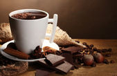 Cup of hot chocolate, cinnamon sticks, nuts and chocolate on wooden table o — Stock Photo