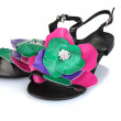 Beautiful summer sandals with flower isolated on white — Stock Photo #8537709