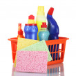 Full box of cleaning supplies and sponges isolated on white — Stock Photo