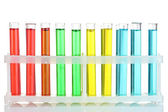 Test-tubes with liquid isolated on white — Stock Photo