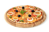 Tasty pizza with olives on wooden stand isolated on white — Stock Photo