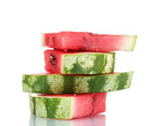 Slices of watermelon isolated on white — Stock Photo