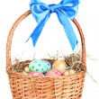Colorful Easter eggs in the basket with a blue bow isolated on white — Stock Photo
