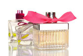 Three perfume bottle isolated on white — Stock Photo