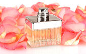 Perfume in a beautiful bottle and petals isolated on white — Stock Photo