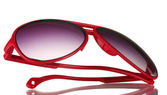 Womans red sunglasses isolated on white — Stock Photo
