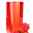 Fresh strawberry and juice glass isolated on white — Stock Photo #8585062