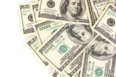 Beaucoup de billets de cent dollars isolé sur blanc — Photo