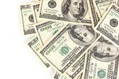 很多一百美元钞票上白色隔离 — 图库照片