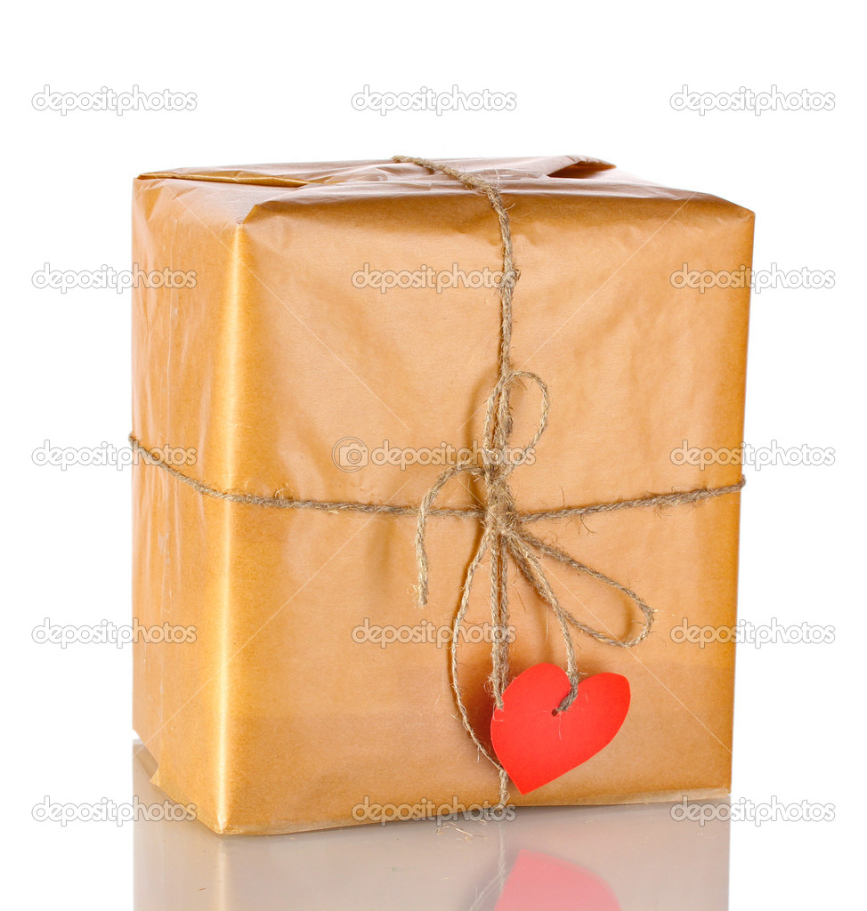 Parcel with blank heart-shaped label isolated on white  Stock Photo #8585383