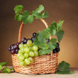 Ripe grapes in basket on yellow background — Stock Photo #8618323