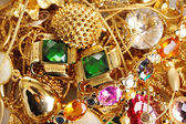 Various gold jewellery closeup — Stok fotoğraf