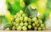Ripe white grapes on green background — Stock Photo