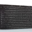 Stock Photo: Black clutch embroidered with beads isolated on white