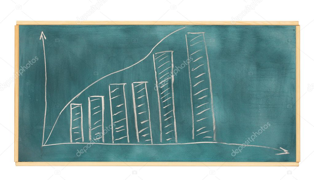 Growth chart is drawn on the blackboard isolated on white — Stock Photo #8645409
