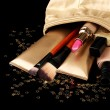 Beautiful golden makeup bag and cosmetics isolated on black — Stock Photo #8650463