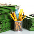 Stock Photo: Green folders isolated on white