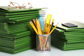 Green folders isolated on white — Stock Photo