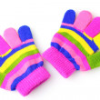 Bright striped baby gloves isolated on white - Stock Photo