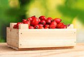 Dojrzałe wrzośca w drewniane pudełko na drewnianym stole na zielonym tle — Zdjęcie stockowe