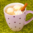Cup of cappucino with marshmallows and cinnamon on green tablecloth — Stock Photo #8731845