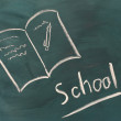 Royalty-Free Stock Photo: Blackboard with drawing book closeup