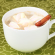 Cup of cappucino with marshmallows and cinnamon on green tablecloth — Stock Photo #8749613