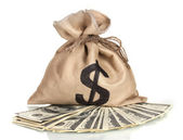 A lot of one hundred dollar bills in a bag isolated on white — Stock Photo