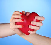 Man and woman holding red heart in hands on blue background — Stock Photo