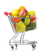 Assortment of exotic fruits in shopping cart isolated on white — Stock Photo