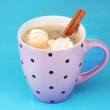 Cup of cappucino with marshmallows and cinnamon on blue background — Stock Photo #8766494