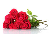 Beautiful bouquet of red roses isolated on white — Stock Photo