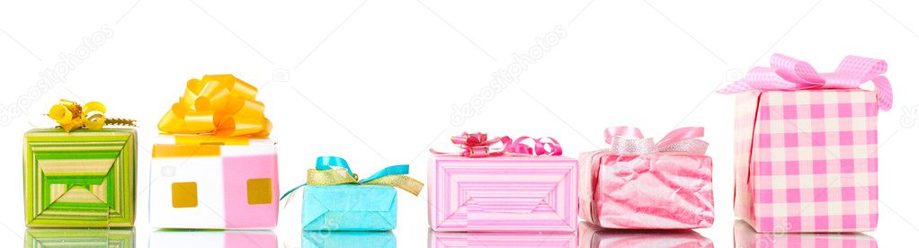 Beautiful bright gifts isolated on white — Foto Stock #8769867