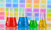 Laboratory flasks with color liquid on color samples background — Stock Photo