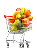 Assortment of exotic fruits in shopping cart isolated on white — Foto de Stock