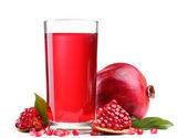 Ripe pomergranate and glass of juice isolated on white — Stock Photo