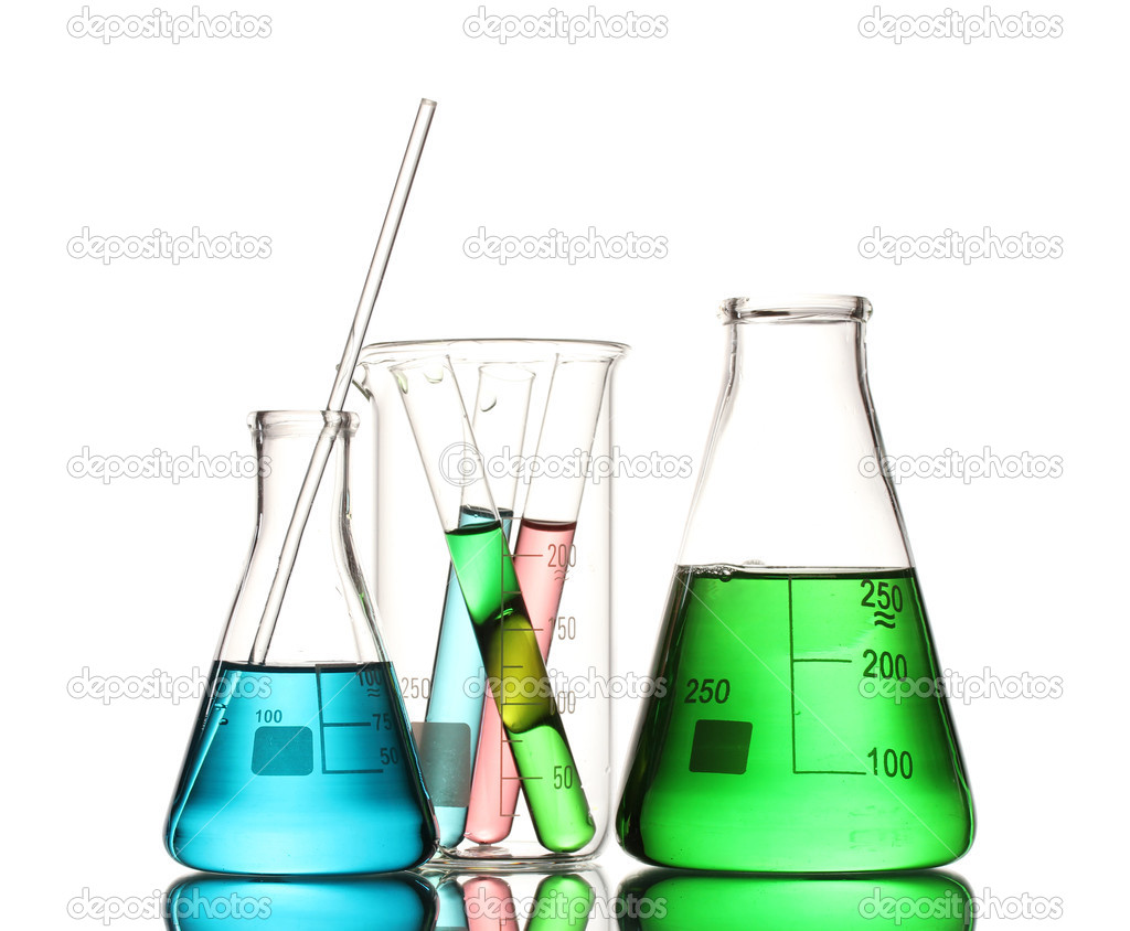 Different laboratory glassware with color liquid and with reflection isolated on white  Stock Photo #8799609