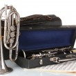 Stock Photo: Antique trumpet and clarinet in case isolated on white