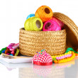 Bright threads for needlework and fabric in a wicker basket — Stock Photo #8822995