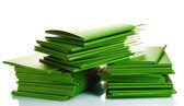 Many green folders isolated on white — Stock Photo