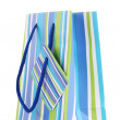 Striped gift bag isolated on white — Stock Photo #8856078