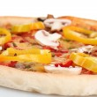Delicious pizza with sausage and vegetables isolated on white — Stock Photo #8856134