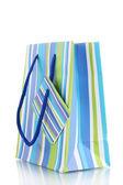 白で隔離されるストライプ ギフト バッグ — ストック写真