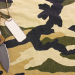 Army badges and knife on camouflage background - Photo