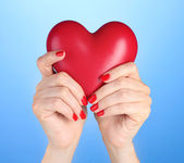 Red heart in woman's hands on blue background — Stock Photo